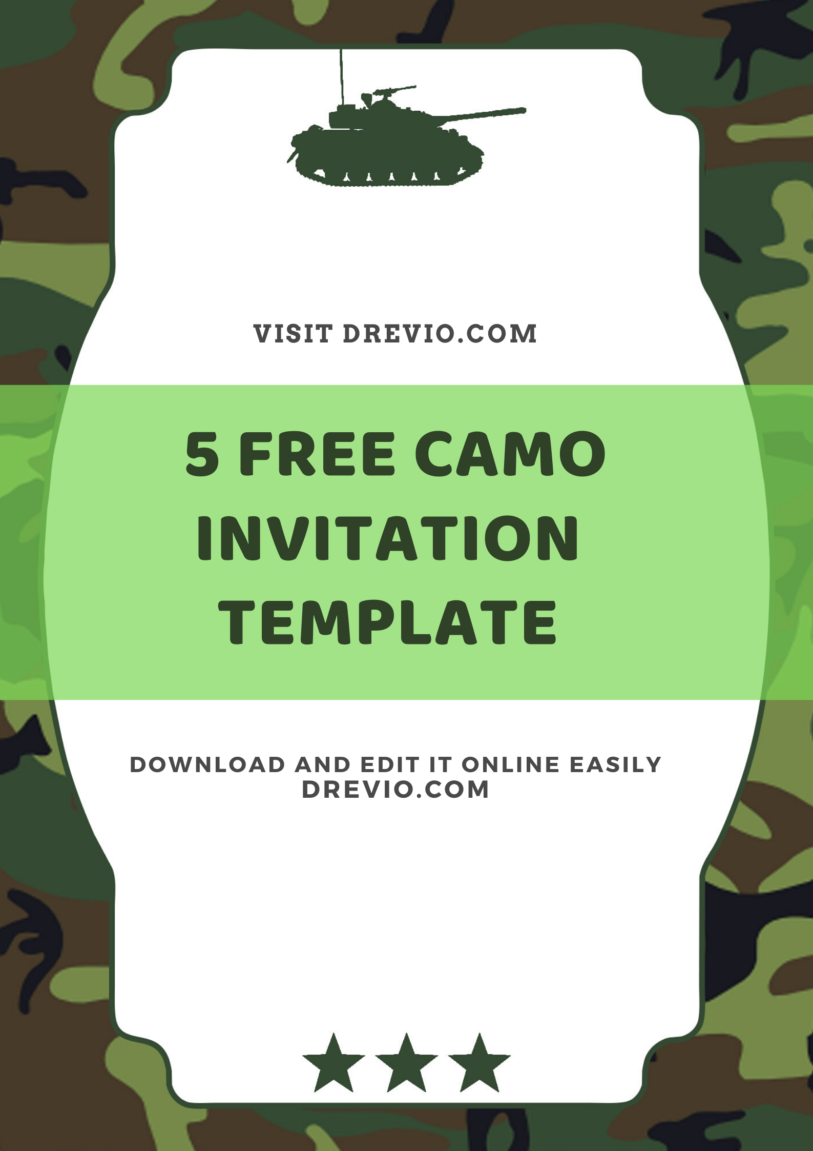 free printable camo army kids birthday