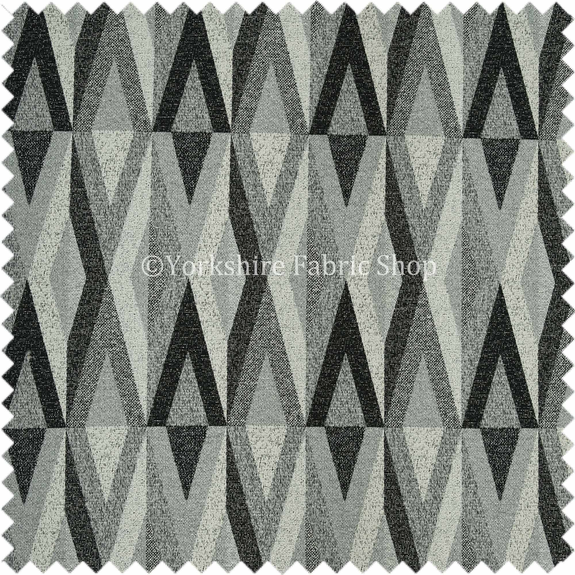 Saphira Black Grey Geometric Chevron Pattern Soft Chenille Upholstery Fabric