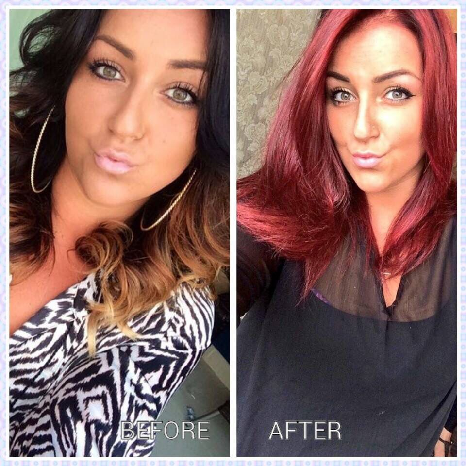 Hair Color Change From Ombre To Bright Red Laura D Tredora