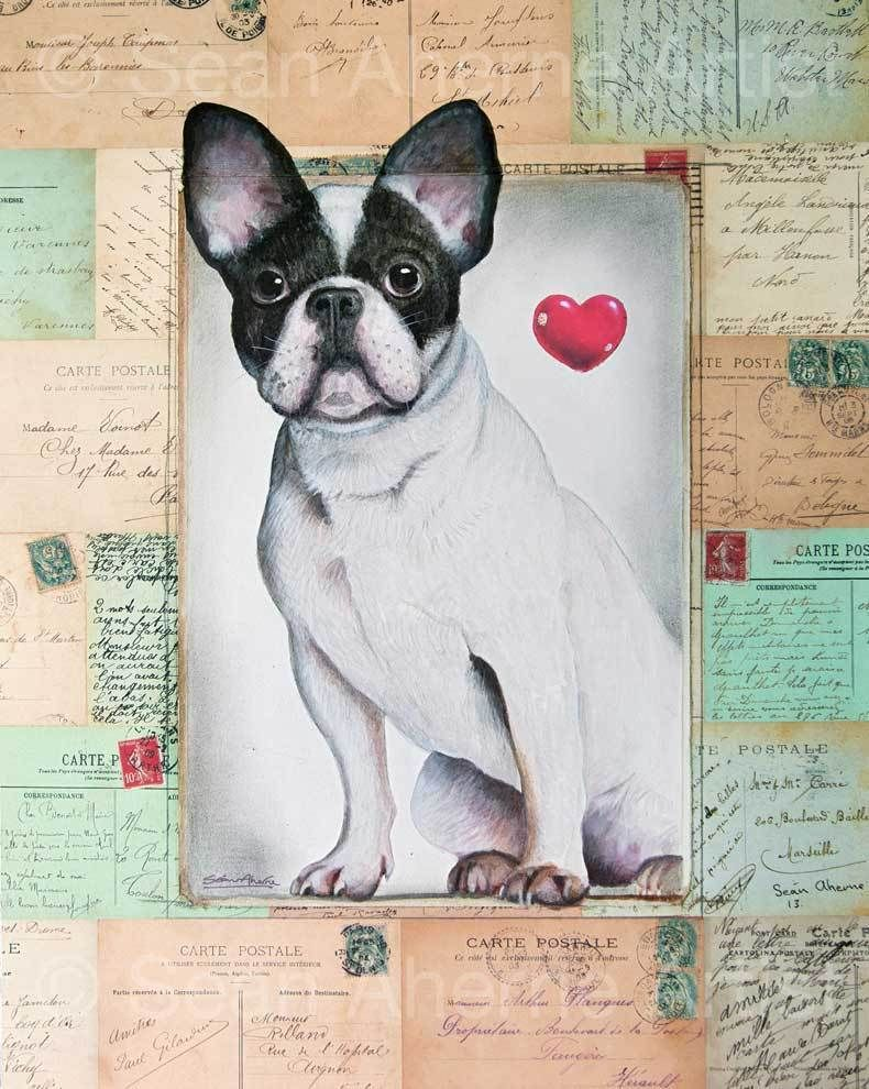 French Bulldog with heart Shabby Chic Wooden Sign Plaque