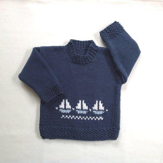 Photo of Babypullover jungen mit Segelbooten – 6 bis 12 Monate jungen – Baby Hand stricken Marine Pullover – Kleinkind-Segelboot-Pullover – Baby Strick