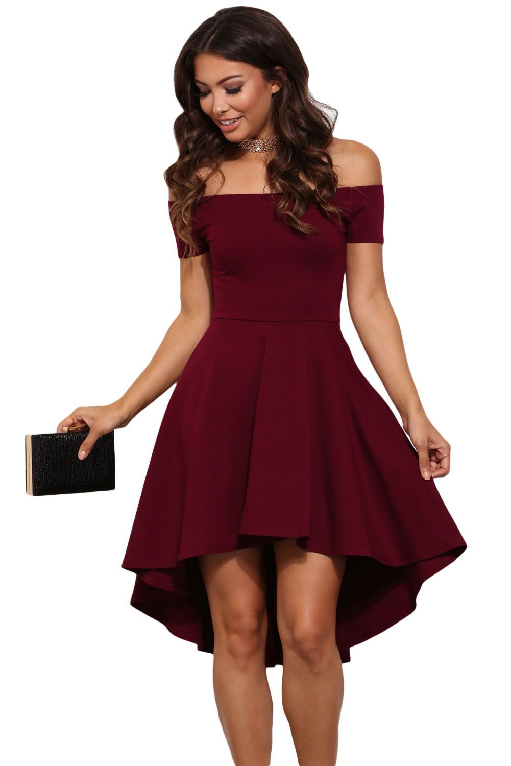 d82cfa778a Burgundy Off Shoulder High Low Cocktail Party Dress