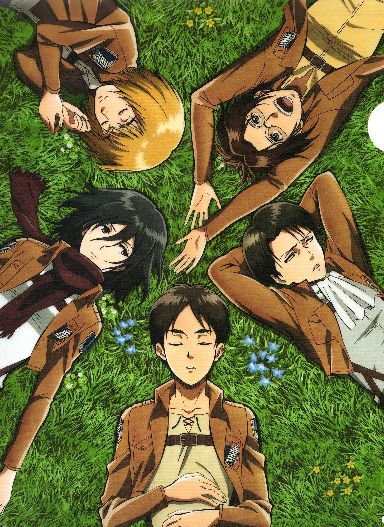 Armin Hanji Mikasa Rivaille And Eren Attack On Titan Anime Attack On Titan Titans Anime