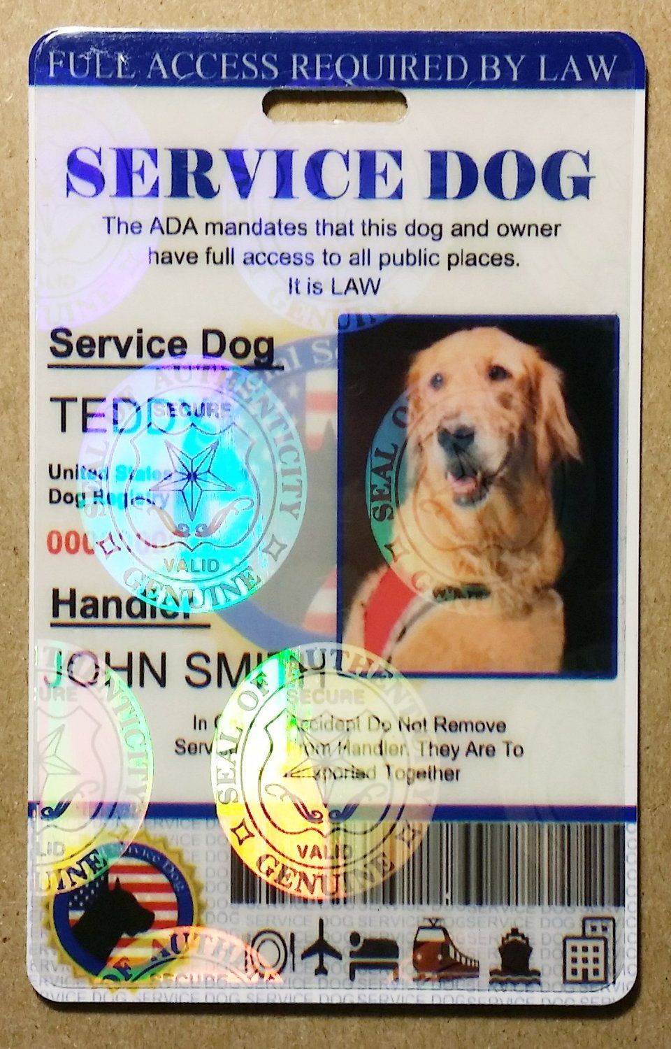 Holographic Service Dog Id Card Service Dogs Dog Id Dog Cards
