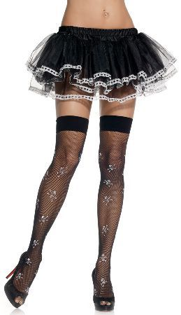 906f20ff8fe Leg Avenue Stockings 9088 Stylish black fishnet thigh-high stockings with  wide elasticated top band