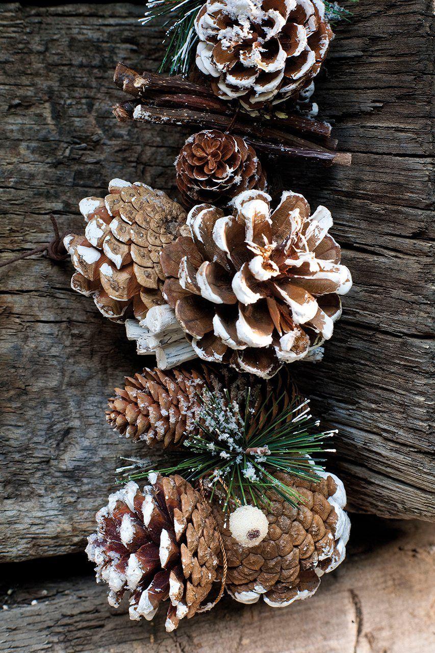 Guirnalda del bosque guirnalda de pi as y ramas de abeto - Adornos de navidad hechos con pinas ...