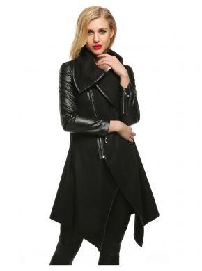 Manera de las mujeres Finejo negro solapa manga larga cremallera de piel sintética Patchwork borde Irregular mezcla de lana capa Outwear