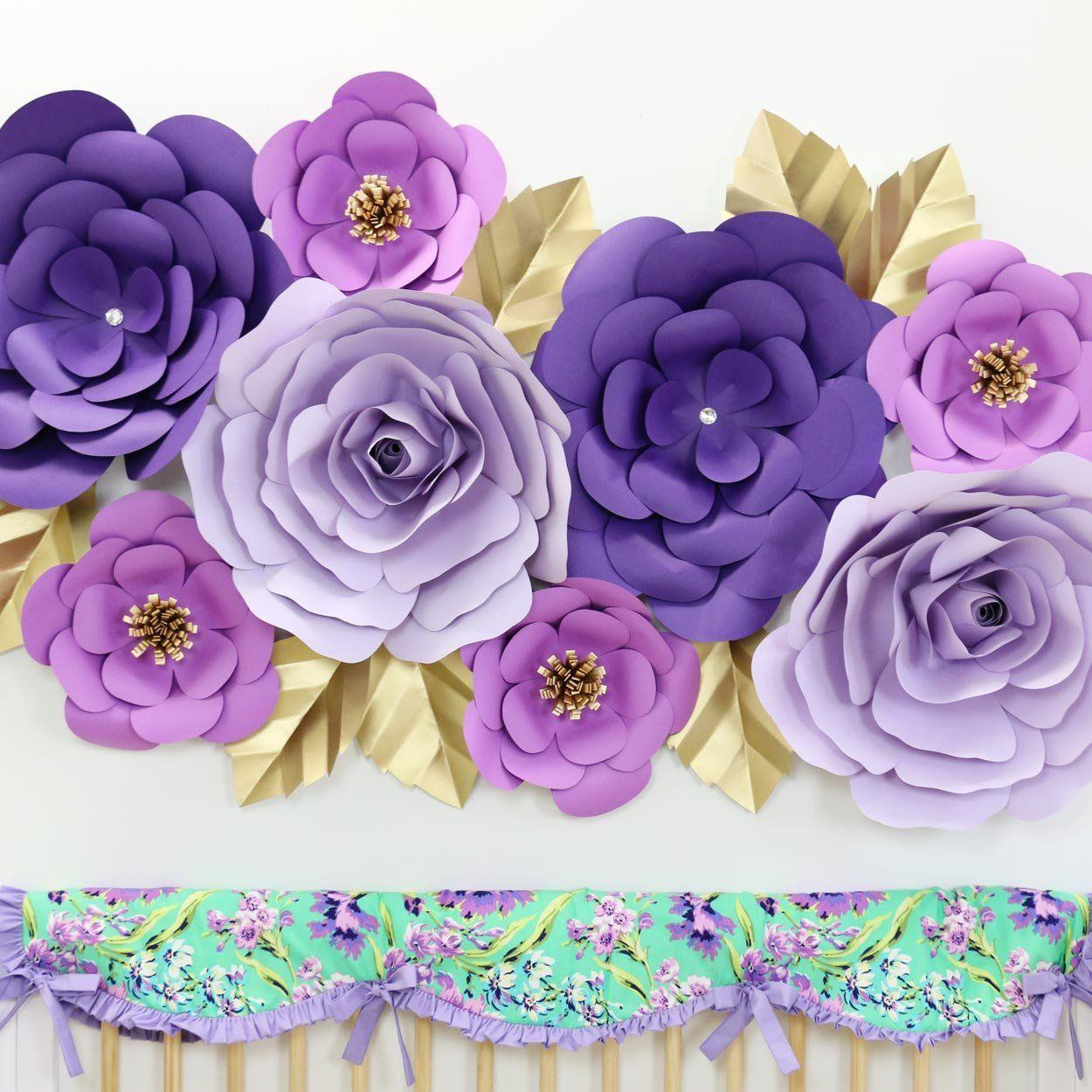 Giant Paper Wall Flower Set in Purple   Nursery wall decor and Nursery