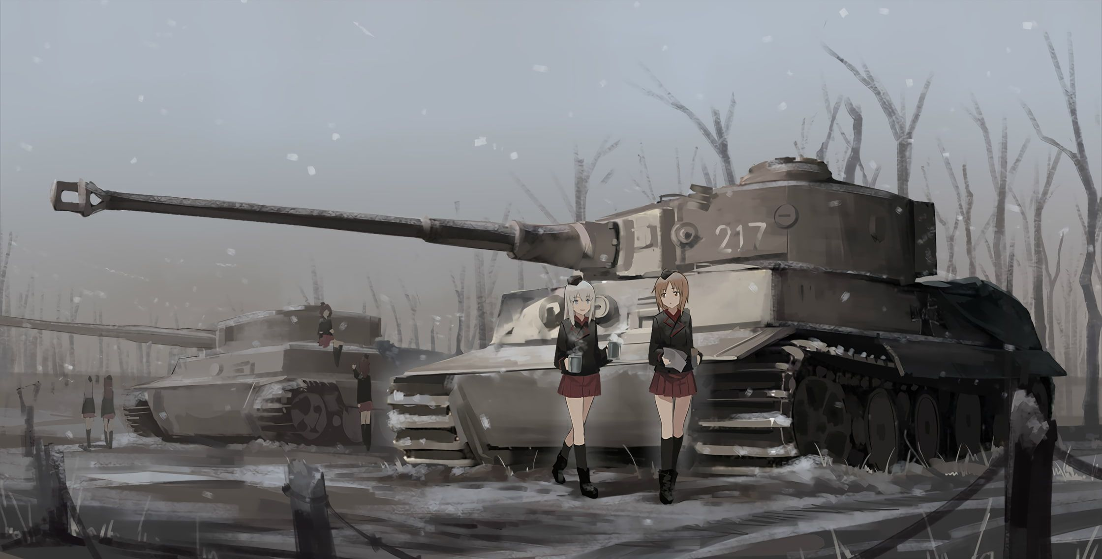 Anime Military Vehicle Tank Anime Girls War Snow Girls Und Panzer Nishizumi Miho 1080p Wallpaper Hdwallpaper Desktop