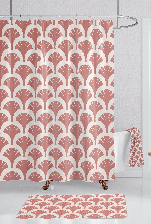 Art Deco Terracotta Bathroom Set Boho Shower Curtain Bath Towel