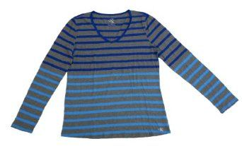 Calvin Klein Women S Long Sleeve Striped Shirt Blue Xxlarge Fashion