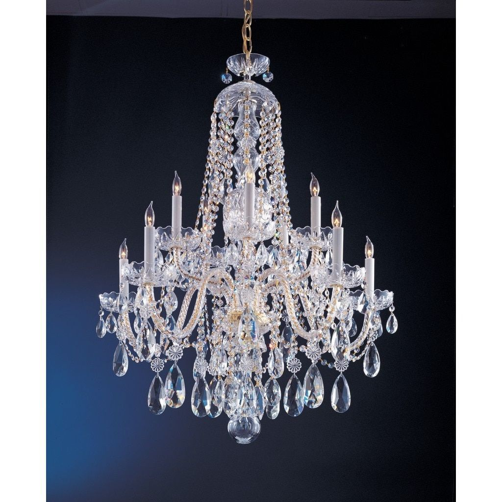 Crystorama Traditional Crystal Collection 10 Light Polished Brass Swarovski Strass Chandelier Gold