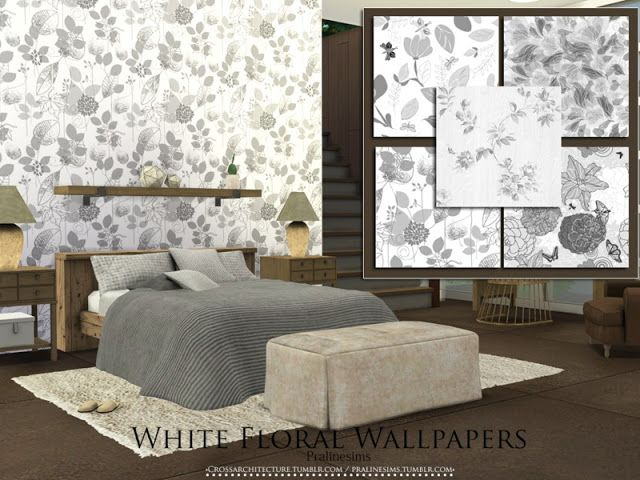 Sims 4 CC's - The Best: White Floral Wallpapers by Pralinesims