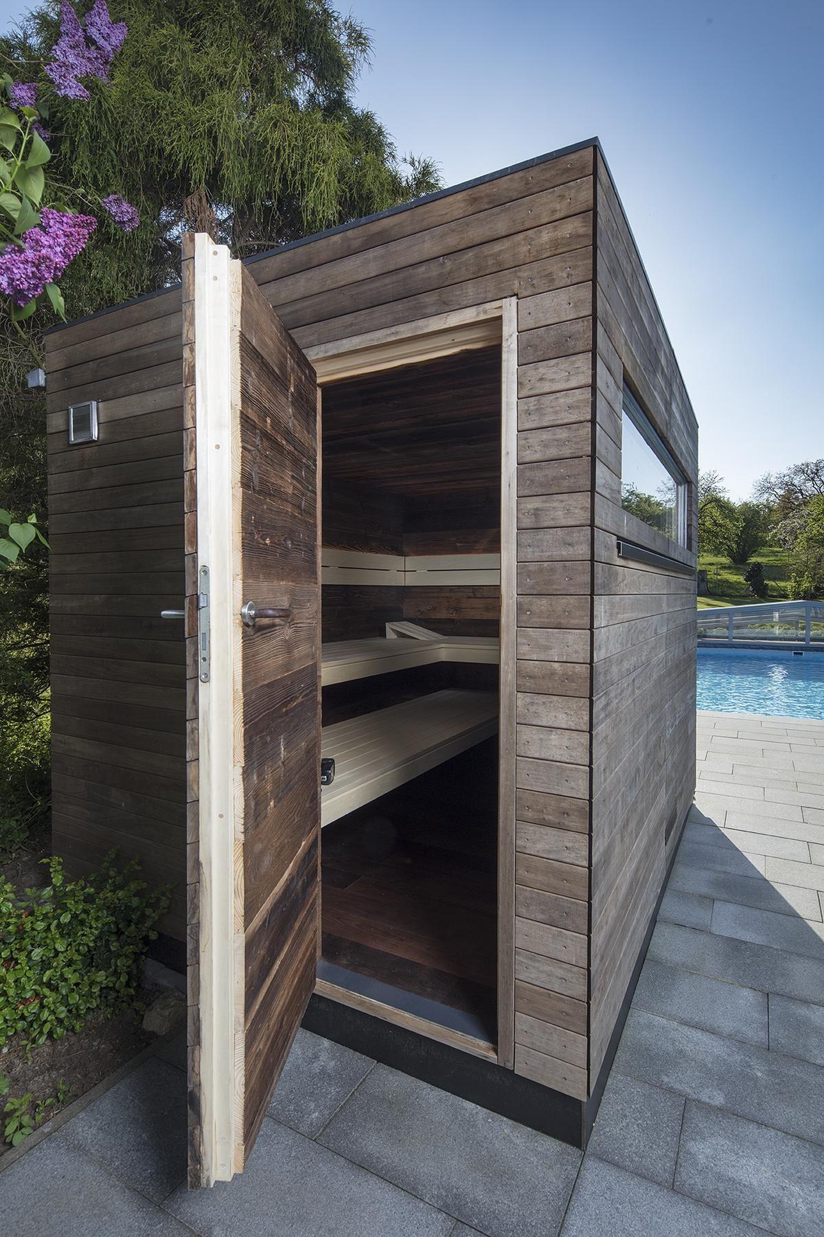 Gartensauna Nach Mass Mit Altholz Gartensauna Saunahaus Sauna Im Garten