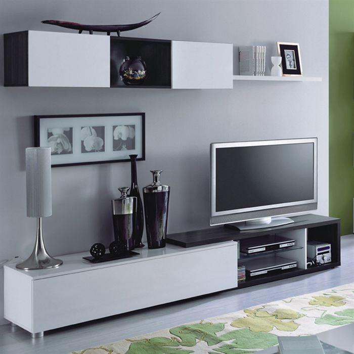 Naia Meuble Tv Design Blanc Noir   Recherche Google