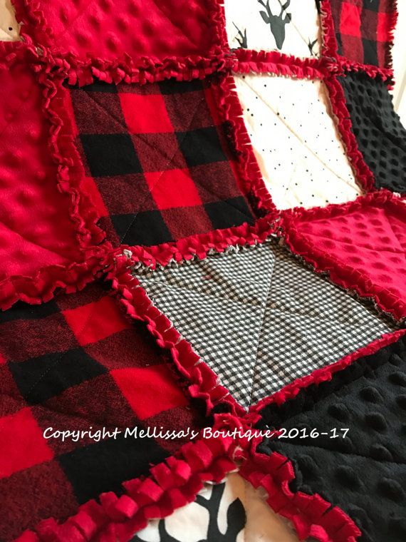 Plaid Baby Quilt: Rustic Lodge Woodland Buffalo Plaid Deer Red & Black Baby