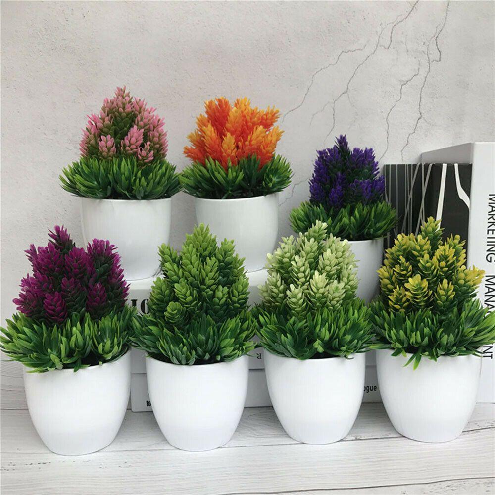 Artificial Flowers Potted Home Decor Desktop Bonsai Plant Imitation Plastic