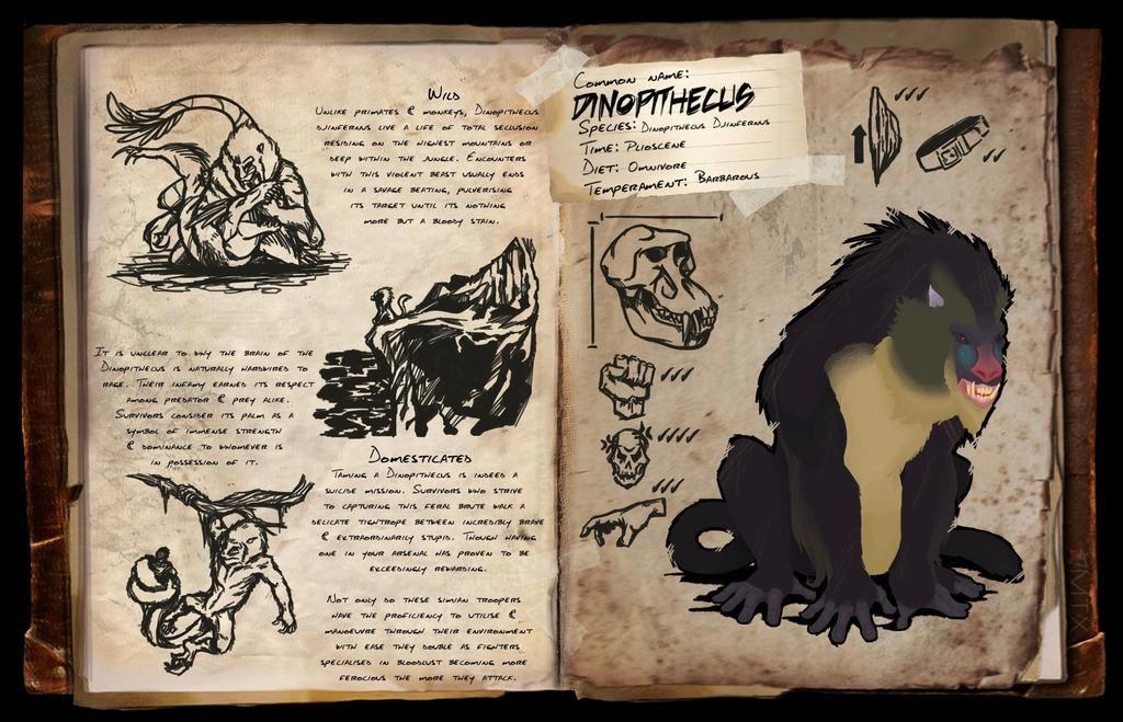 Dinopithecus Dossier Fanmade By Djaymasi On Deviantart In 2021 Ark Survival Evolved Ark Evolution Dinosaur Posters