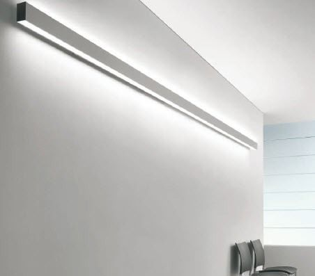 Linear wall-mounted fluorescent light fixture (for offices and shops ...