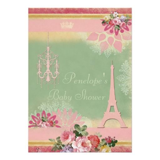 Pink Eiffel Tower and Chandelier Girl Baby Shower Personalized Invite
