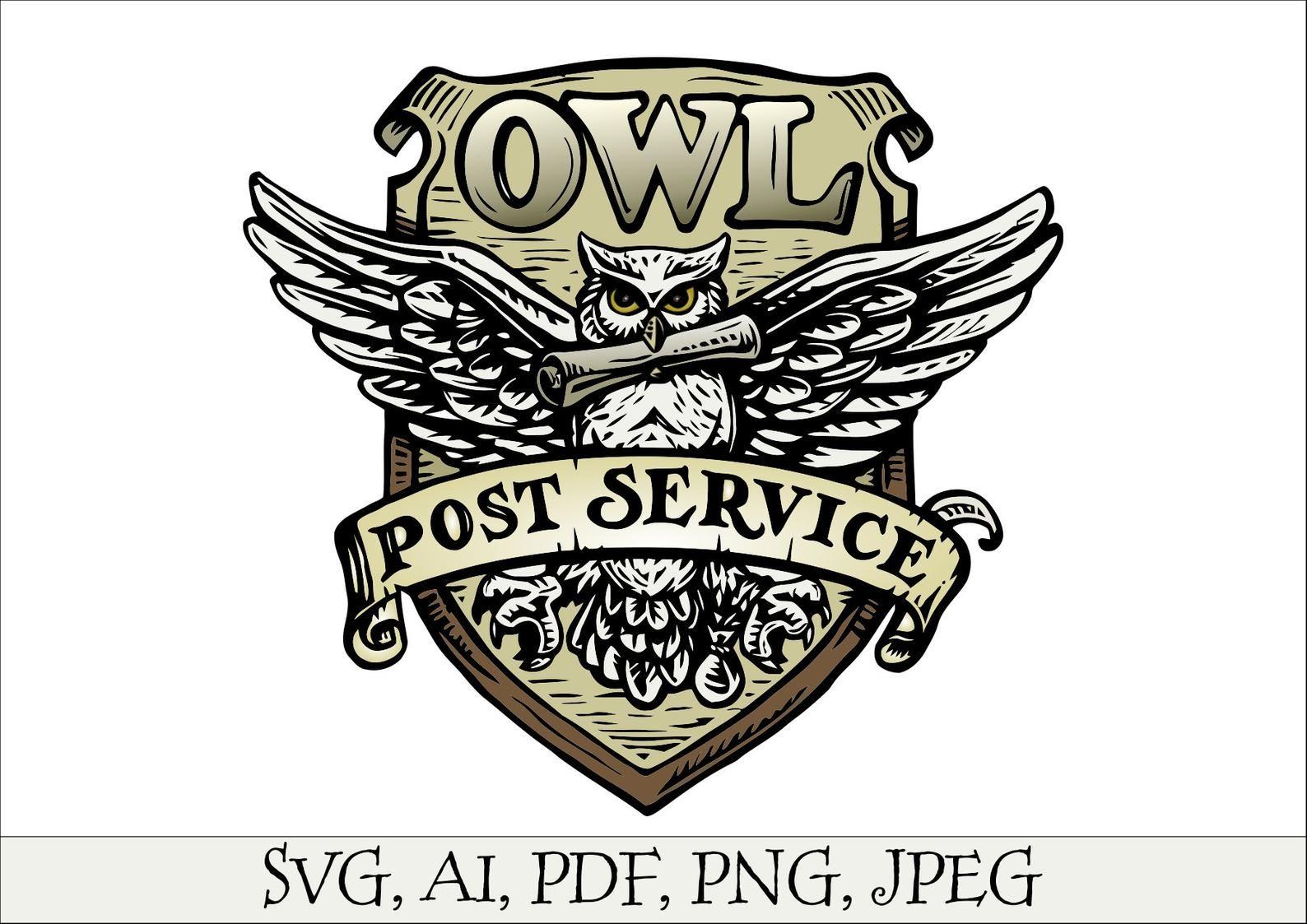 Owl Post Service Svg Harry Potter Universe Hedwig Owl Logo Etsy Owl Post Harry Potter Owl Owl Logo