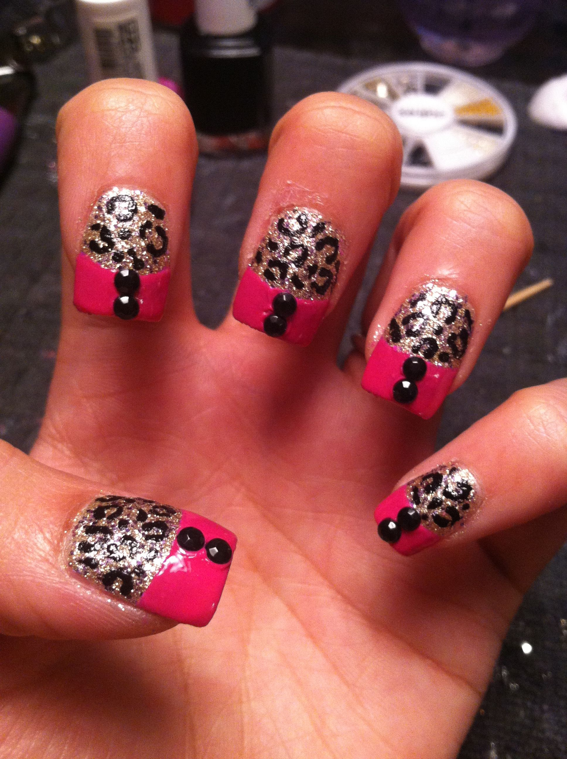 Black And Pink French Tip Nails hot pink with black rh...