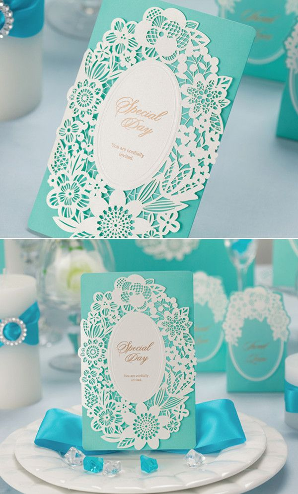 Top 10 Laser Cute Elegant Wedding Invitations Tiffany blue Laser