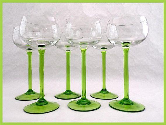 lot de 6 verres vintage grav s vin blanc d 39 alsace vaisselle vintage art de la table vintage. Black Bedroom Furniture Sets. Home Design Ideas