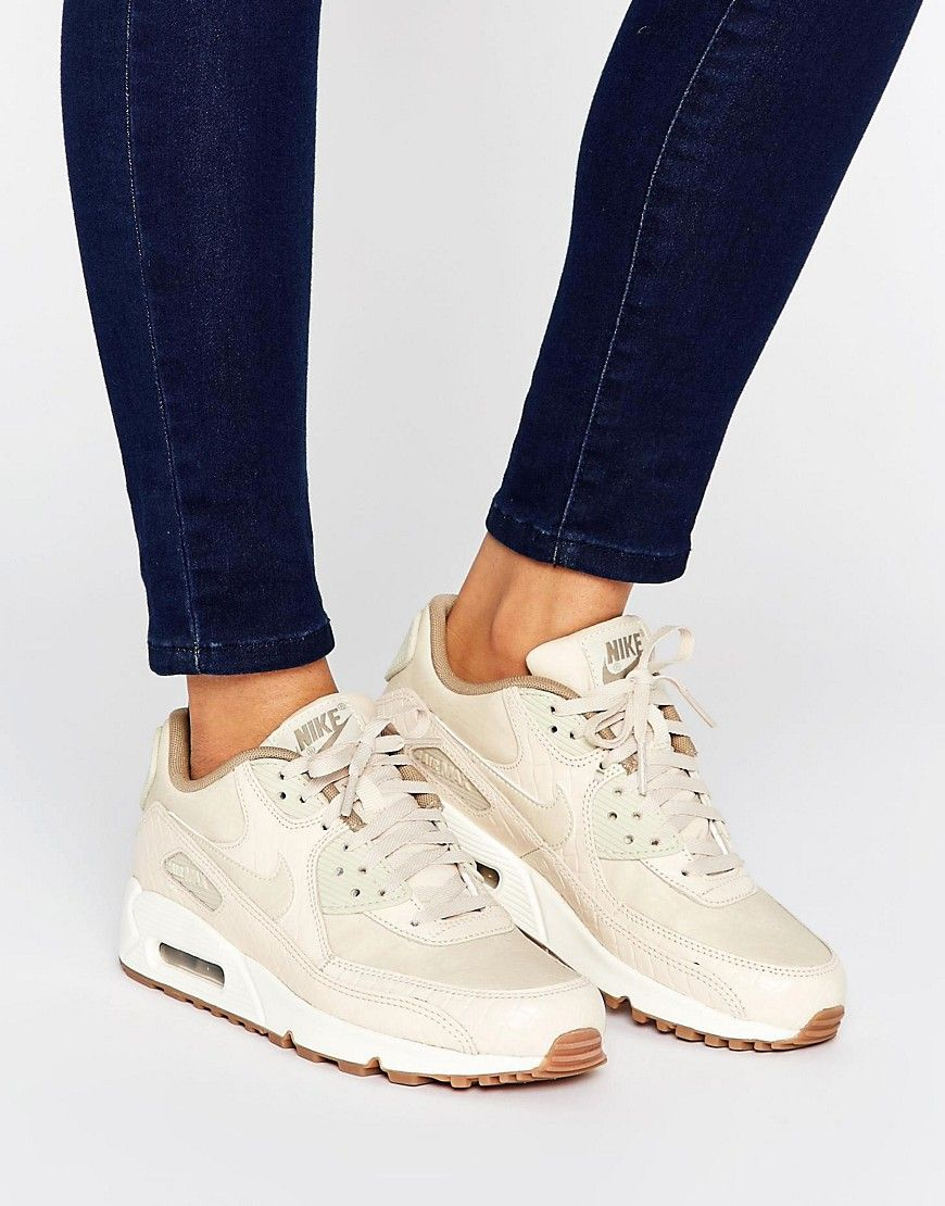 promo code 3b538 dea2c Nike Air Max 90 Premium Trainers In Oatmeal - Beige. Air Max 90 trainers by  Nike, A breathable leather and mesh upper, Visible Max Air unit for  cushioning, ...