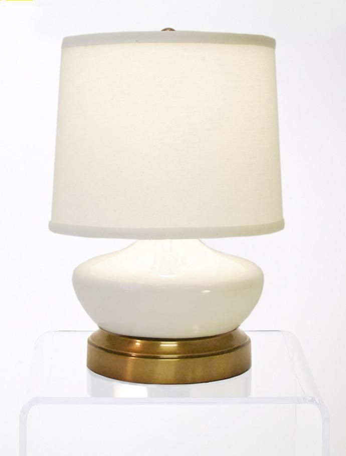 Bella Ivory Ceramic With Br Cordless Battery Operated Mini Lamp
