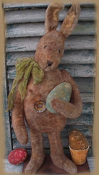 New Primitive Folk Art Tea Stained Boy Bunny Rabbit Egg Basket  Easter Doll 18/""