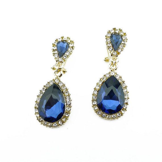 Sapphire earrings bridal earrings statement by eBijoux on Etsy, $7.99