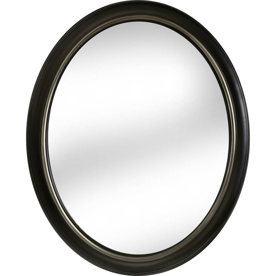 Lowes Wall Mirrors shop allen + roth 24-in x 30-in oil-rubbed bronze oval framed wall