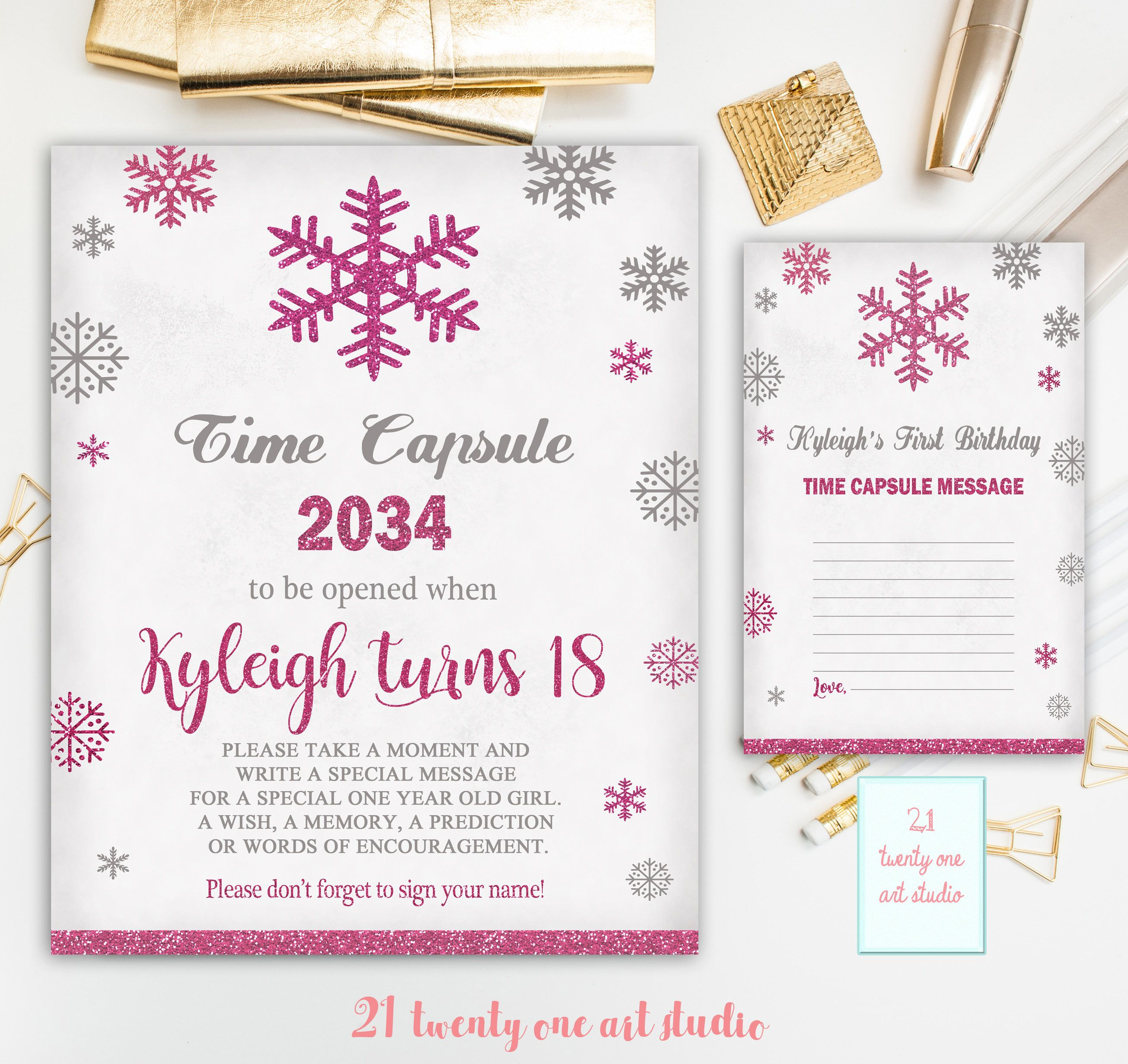 Winter Time Capsule Sign, First Birthday Time Capsule, Snowflakes ...