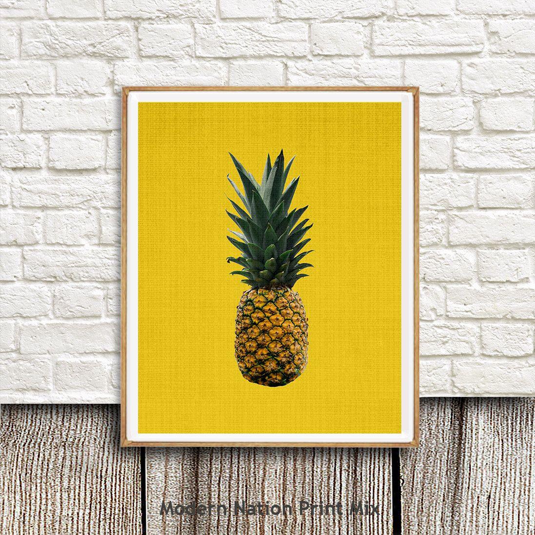 Pineapple print tropical fruit wall art decorprintable instant pineapple print tropical fruit wall art decorprintable instant download modern amipublicfo Choice Image