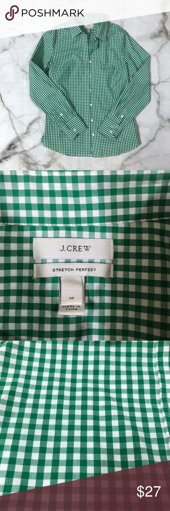 Green checkered dress shirt  J Crew Stretch Perfect Checkered Button Down XS  My Posh Picks
