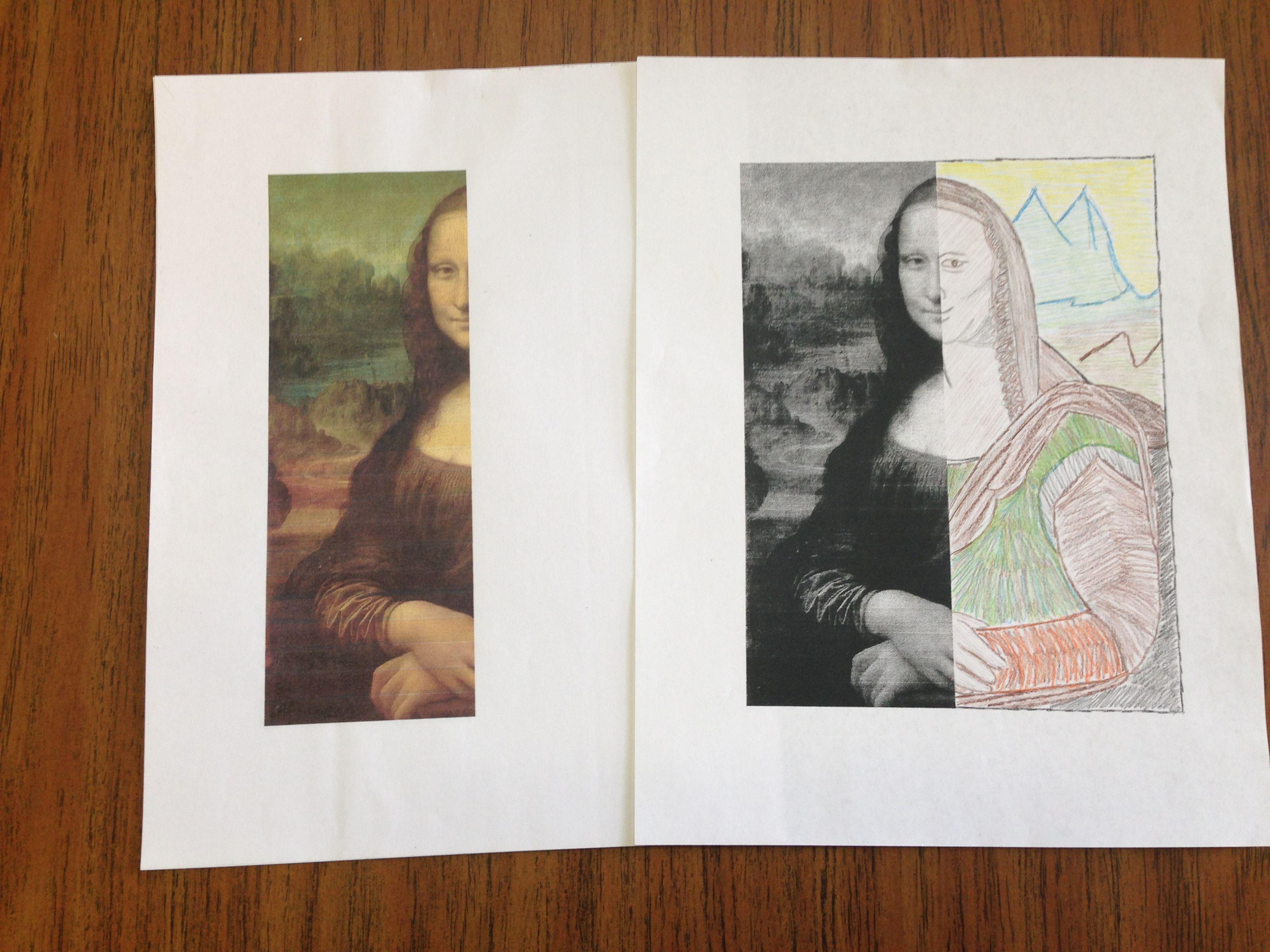 Middle School Art Lesson On Leonardo Da Vinci The Students Received Half Of Mona Lisa And Had