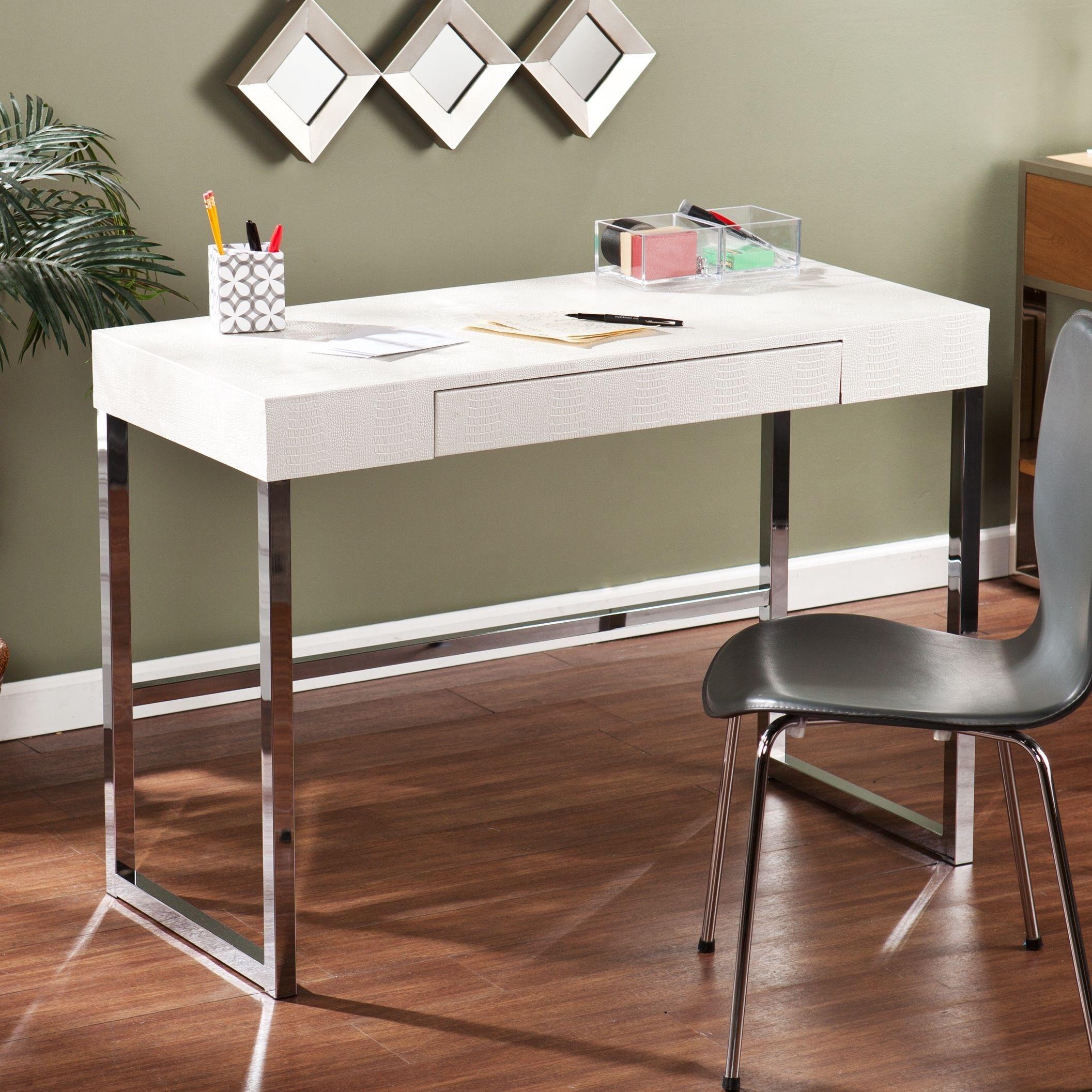 Oliver James Alceo Textured White Desk Contemporary Desk