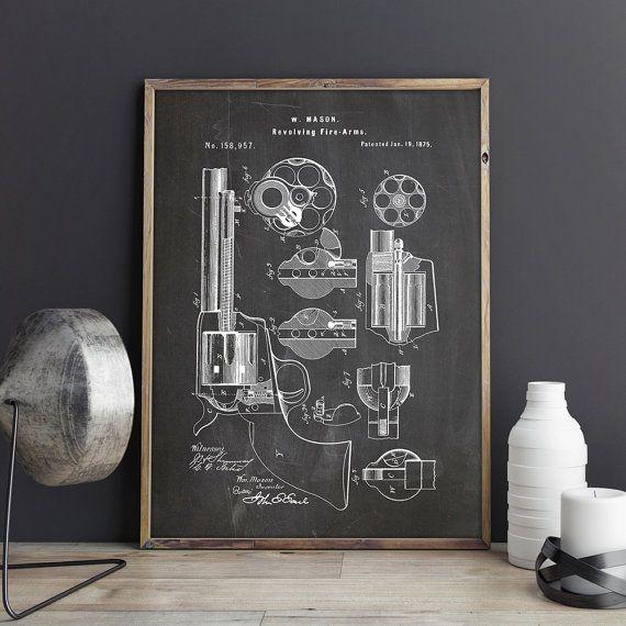 Revolver, Revolver Print, Hand Gun Print, Gun Printable, Gun - new blueprint gun art