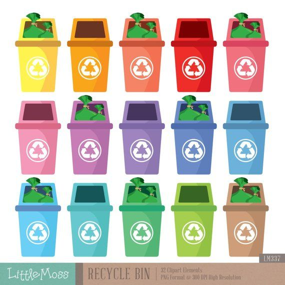 Recycle Bin Digital Clipart | Products | Recycling bins, Clip art