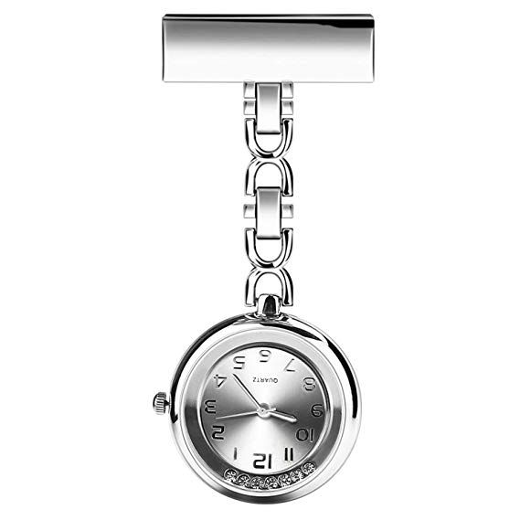 b7df1f970 CeseMall Nurse Watch Paramedic Doctor Pocket Watches Flow Diamond Quartz  Lapel Pin Clip-on Hanging Medical Brooch Fob Watch (Silver)