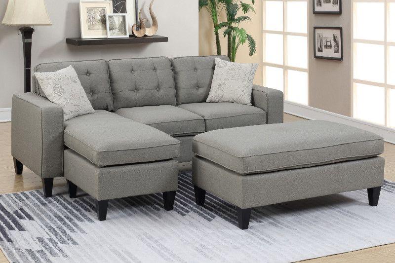 Poundex F6576 2 Pc Latitude Run Gustav Daryl Light Grey Linen Like Fabric Reversible Chaise Sectional Sofa Set Ottoman Sectional Sofa Sofa Set Sectional Patio Furniture