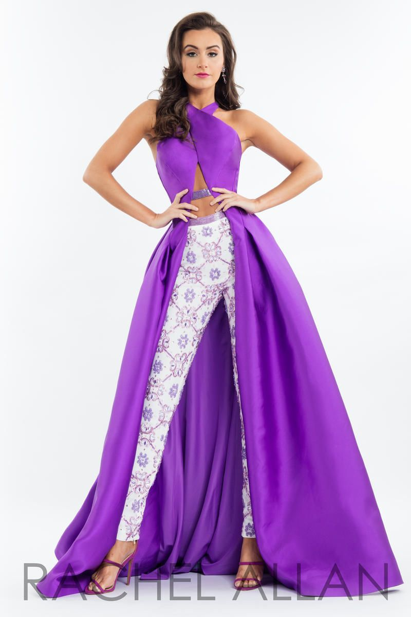 Rachel Allan 7522 Is A High Fashion Mikado And Jersey Gown With A Crossover Neckline Open Strappy Back Pageant Outfits Pageant Fun Fashion Purple Prom Dress [ 1200 x 800 Pixel ]