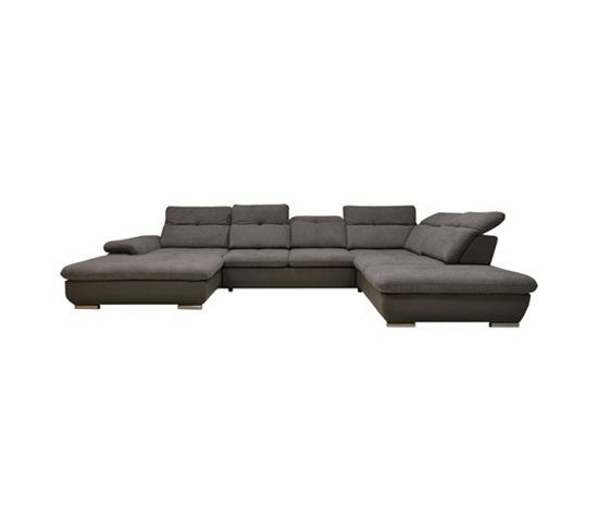 Canape Grand Angle Convertible Gauche Andy Ii Pu Et Tissu Anthracite Canape Pas Cher Canape Convertible Canape Angle