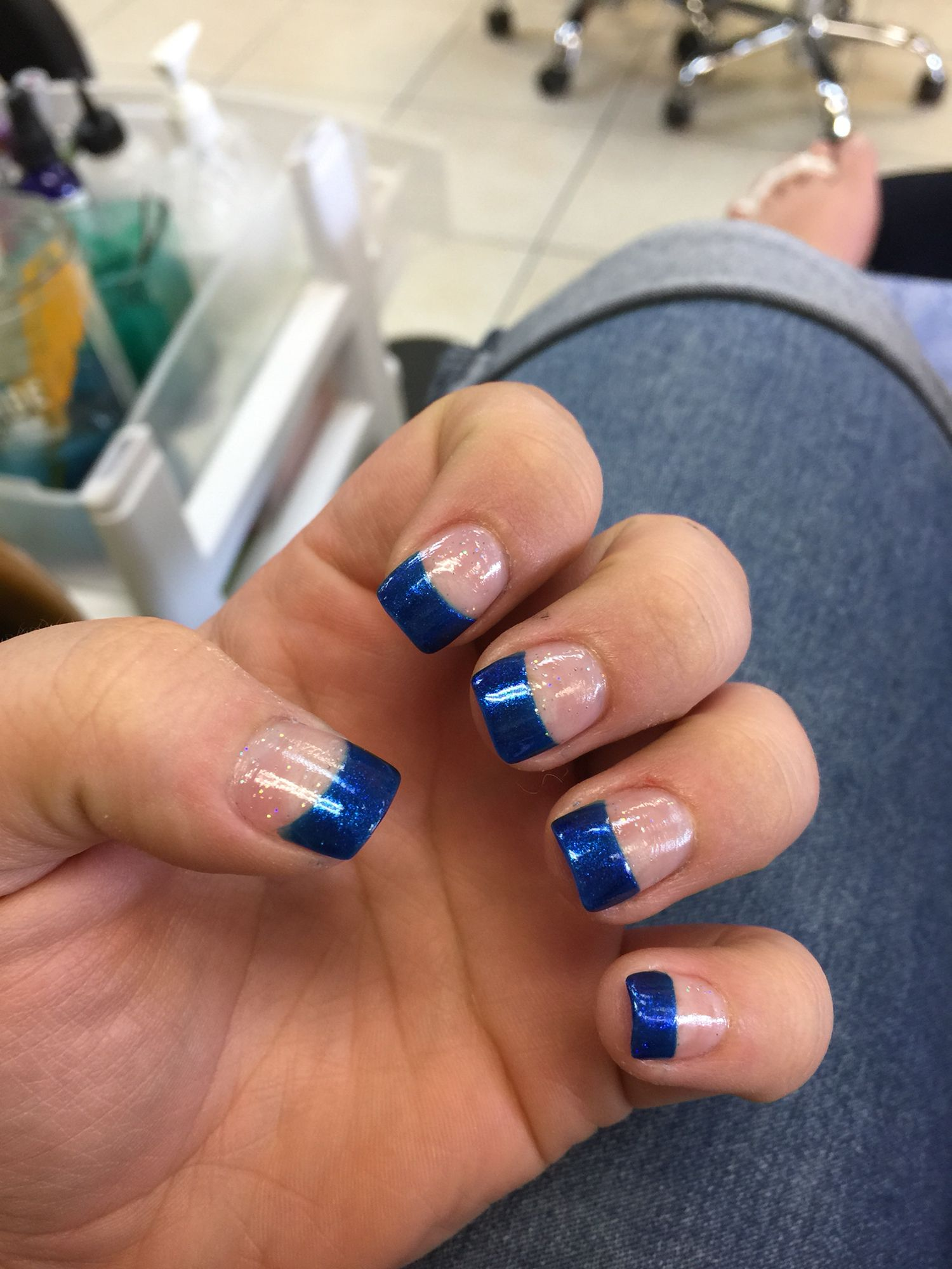 Blue French Tip Acrylic Nails Bride Nails French Tip Acrylic Nails Nail Designs
