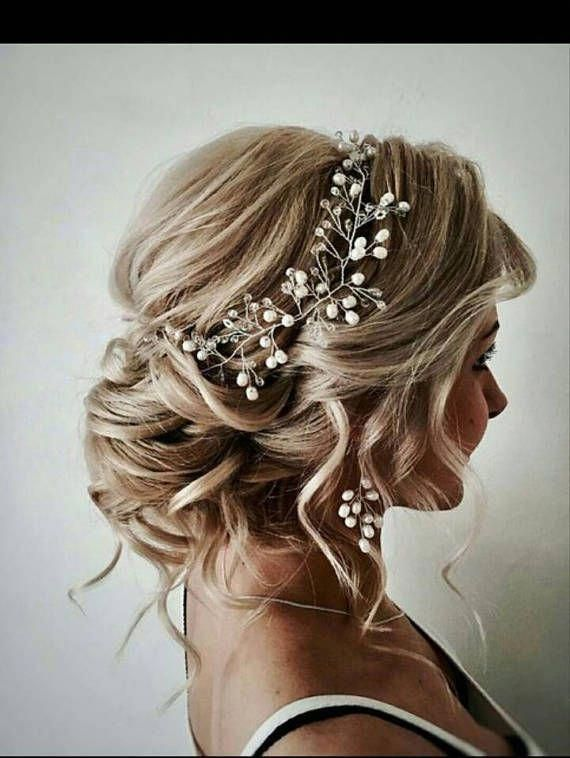 Bridal Hair Vine Wedding Rose Gold Hair Piece Pearl Silver Wedding Hair Accessory Bridal Hair Piece Vine Jewellery Long Hair Vine Bridal