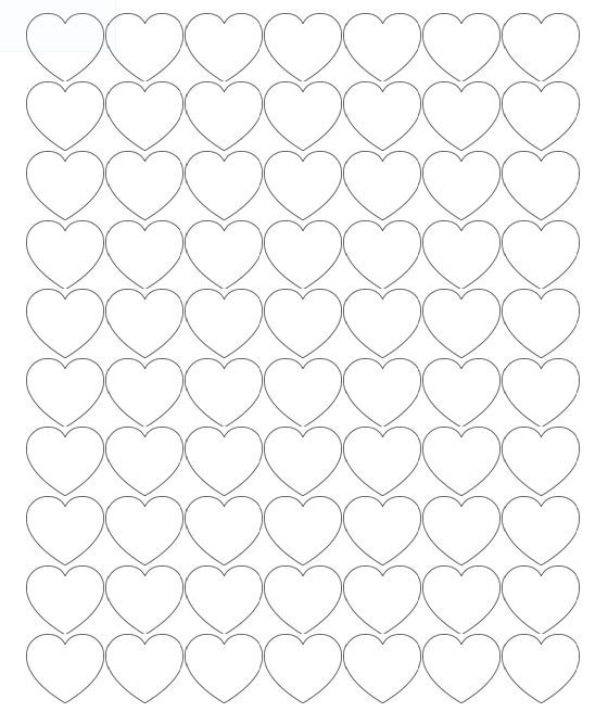 Printable Heart Shapes - Tiny, Small  Medium Outlines Preschool