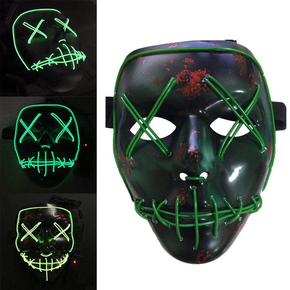 Halloween Prank The Purge LED Mask Props Movie EL Wire DJ Party ...