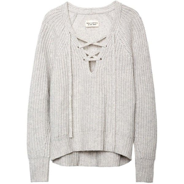 04fb5699f0 LACE-UP V-NECK SWEATER found on Polyvore featuring tops