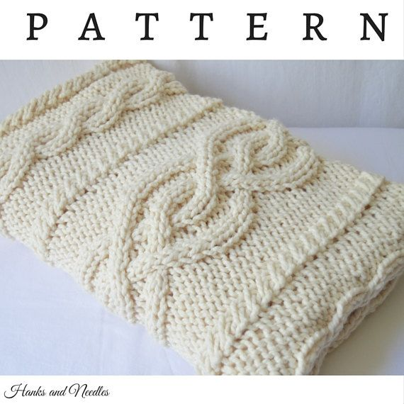 Cable Knit Throw Pattern : Chunky Knit Cable Throw Blanket, Knitting Pattern, PDF Download, Knitted Afgh...